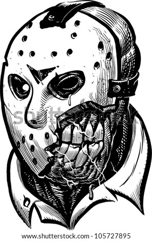 Hockey Mask Killer Monster Head