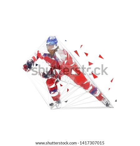 Hockey player, low polygonal ice hockey skater in red jersey with puck, isolated geometric vector illustration