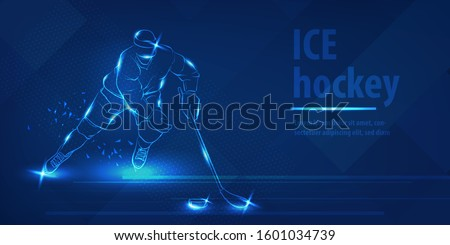 Hockey player on ice with stick shot the puck. Olympic winter sport. Blue neon horizontal banner. Ice hockey man player on the run. Action blue neon hockey winter sport vector background.