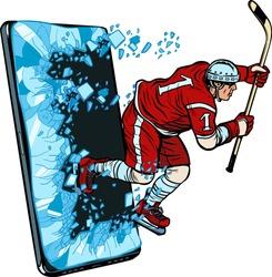 hockey player Phone gadget smartphone. Online Internet application service program. Pop art retro vector illustration drawing vintage kitsch