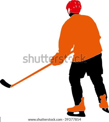 hockey player silhouette with racket