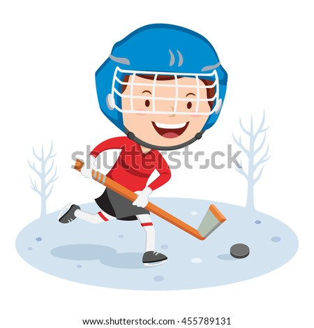 Hockey player. Vector illustration of a little boy playing hockey.