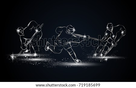 hockey players set metallic