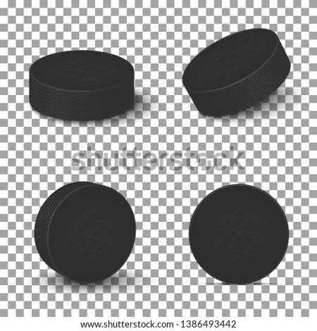 Hockey pucks isolated on transparent background. Set of ice hockey pucks.Vector illustration