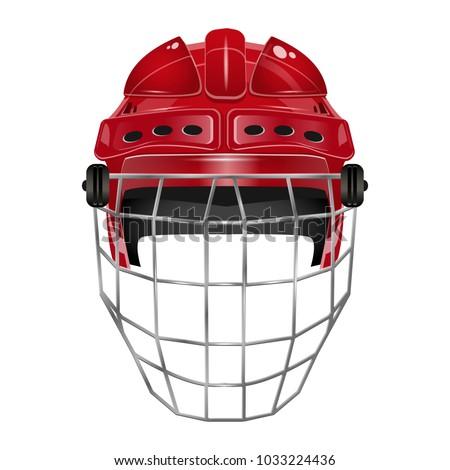 hockey red helmet on white eps