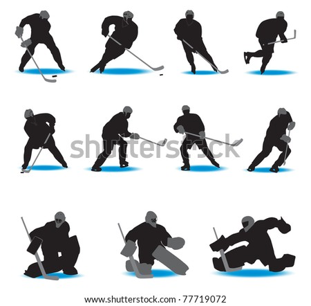 Hockey Silhouettes. Vector illustration