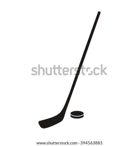 Hockey stick and puck monochrome icon. Hokey puck stick isolated, sport ice icon, game equipment, goal or competition, leisure and activity vector illustration