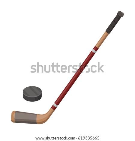 Hockey stick and washer. Canada single icon in cartoon style vector symbol stock illustration web.