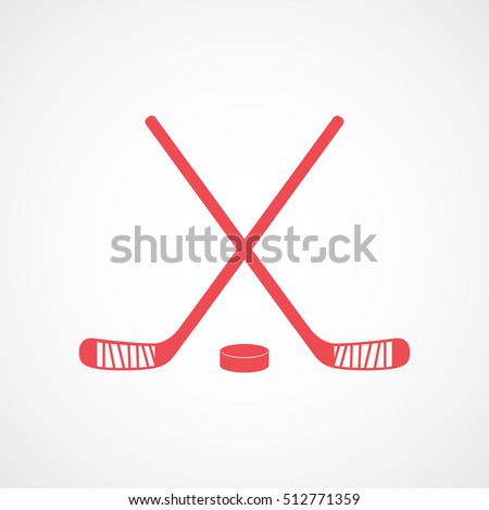 hockey stick cross and puck red