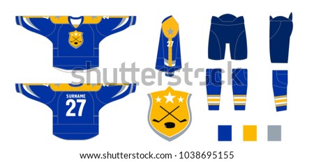 Hockey uniform - pattern cutting for sewing - Hockey sweater and hockey leg warmers, gaiters, hockey shorts and club emblem