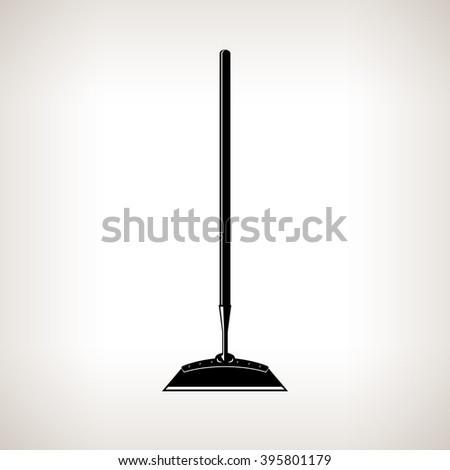 Hoe, Silhouette Draw Hoe on a Light  Background, Agricultural Tool , Garden Equipment, Black and White  Vector Illustration Stok fotoğraf ©