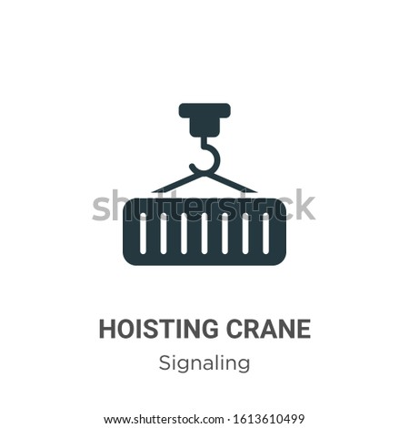 Hoisting crane glyph icon vector on white background. Flat vector hoisting crane icon symbol sign from modern signaling collection for mobile concept and web apps design.