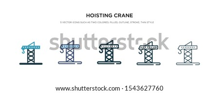 hoisting crane icon in different style vector illustration. two colored and black hoisting crane vector icons designed in filled, outline, line and stroke style can be used for web, mobile, ui