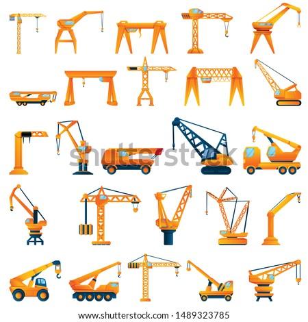 Hoisting crane icons set. Cartoon set of hoisting crane vector icons for web design