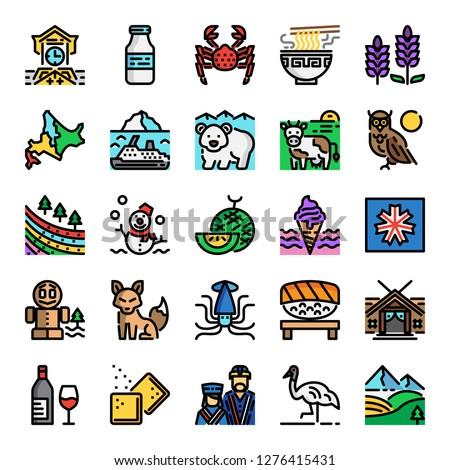 hokkaido pixel perfect color line icons, vector editable stroke