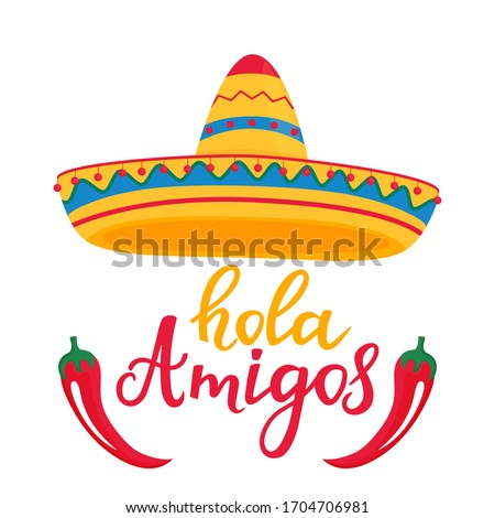 Hola amigos hand drawn lettering. Banner with mexican sombrero and red cayenne pepper Foto stock ©