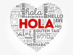 Hola (Hello Greeting in Spanish) love heart word cloud in different languages of the world