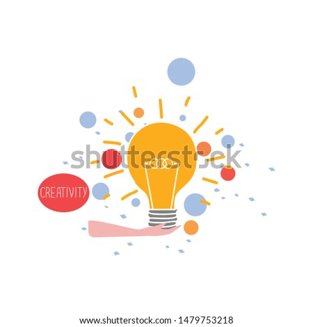 Holding a light bulb. Getting a new bright and creative idea. Creative job concept.