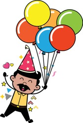 Holding Balloons and Jumping in Excitement - Indian Cartoon Man Father Vector Illustration