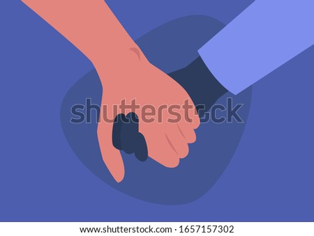 Holding hands, interracial couple, friendship and support, empathy