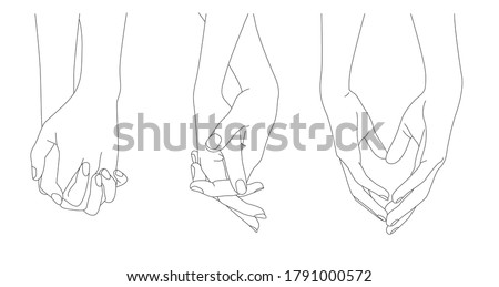 holding hands  outline drawing