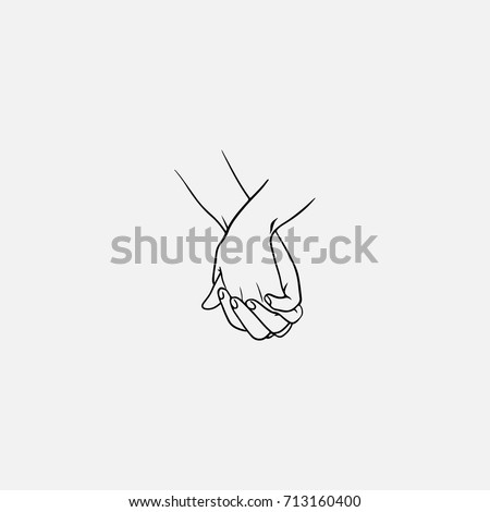 Holding hands with interlocked or intertwined fingers drawn by black lines isolated on white background. Symbol of couple in love, romance, tenderness, dating. Monochrome vector illustration.