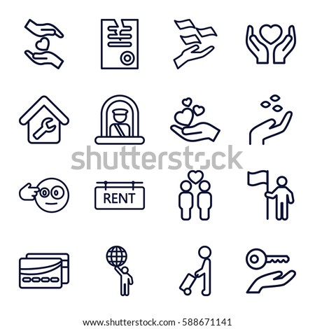 holding icons set. Set of 16 holding outline icons such as man with luggage, airport officer, hand with seeds, money on hand, paper, gay couple, home repair, rent tag, card