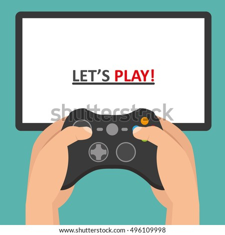 holding in hands gamepad and