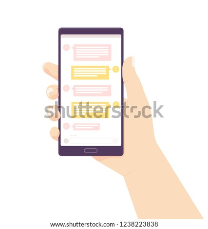 Holding mobile phone . Vector illustration. Social media network. receive messages. Chating and messaging concept. female hand