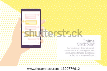 Holding mobile phone . Vector illustration. Social media network. receive messages. Chating and messaging concept.