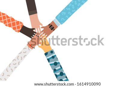 Holding of diverse group hands circle of people putting together.  Cooperation, unity, togetherness, partnership, agreement, teamwork social community concept. Cartoon illustration landing page design