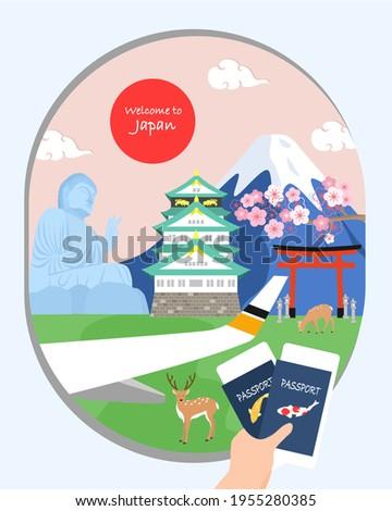 Holding passport's heading to Japan, Osaka. Tokyo, Nara. Advertising design of Japan famous landmarks, Japan travel poster. Nara Japan. Airplane window view.