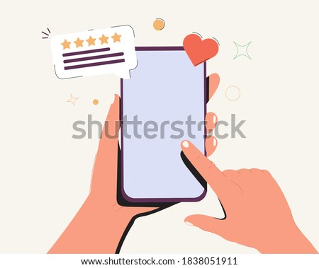 Holding phone in hand and rate content with a star mockup. Empty, editable screen for online shopping, marketing and other needs. Editable smartphone template vector illustration. Smartphone mockup.