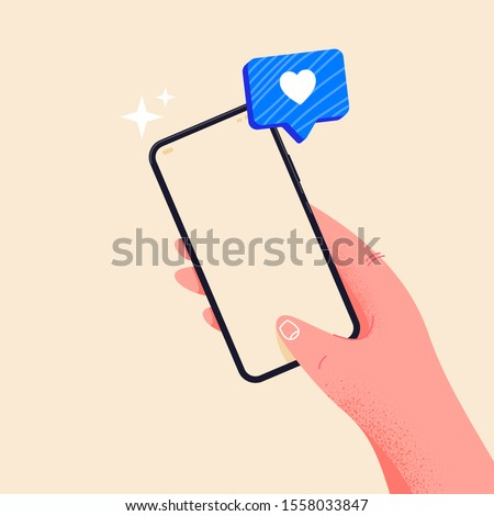 Holding phone in hand. Empty screen, phone mockup. Editable smartphone template vector illustration on isolated background. Receive a blue heart. Application on touch screen device. E-learning concept