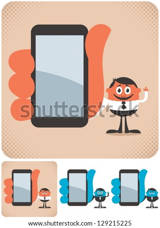 Holding Smartphone: Businessman showing you something on his smartphone. The illustration is in 4 versions. No transparency and gradients used.