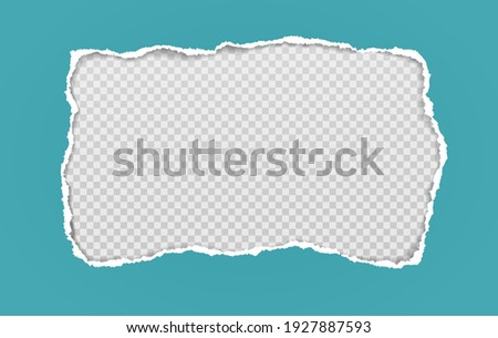 Hole composition in turquoise paper with torn edges and soft shadow is on squared, transparent background. Vector illustration Stock photo ©