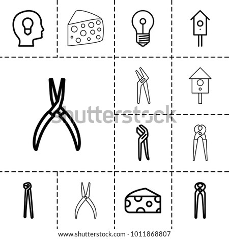 Hole icons. set of 13 editable outline hole icons such as cheese, pliers, nesting house, head with keyhole