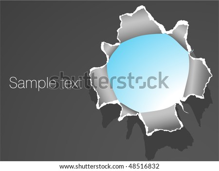 Hole in the paper. Vector template.
