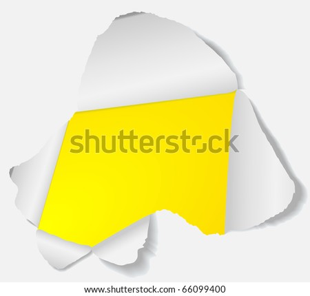 Hole in the sheet of paper. Vector- EPS 8.
