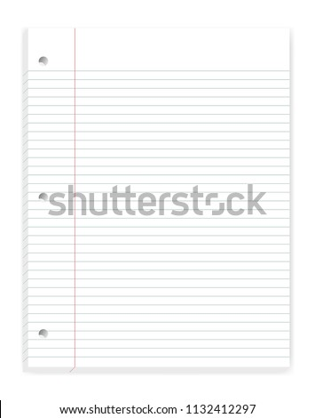 Hole punched filler paper with margin, mock up. Loose leaf notebook of college ruled sheets for 3 ring binder isolated on white background, template. Lined letter format writing pad mockup