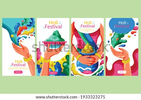 """Holi banner for the celebration. Holi is a popular ancient Hindu festival, also known as the """"festival of spring"""", the """"festival of colours"""", and the """"festival of love""""."""