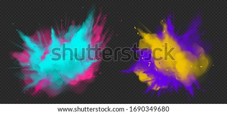Holi paint powder color explosion realistic vector illustration. Blue pink, yellow purple dust splash, spring holiday paint burst isolated on dark transparent, decorative element for indian fest ストックフォト ©