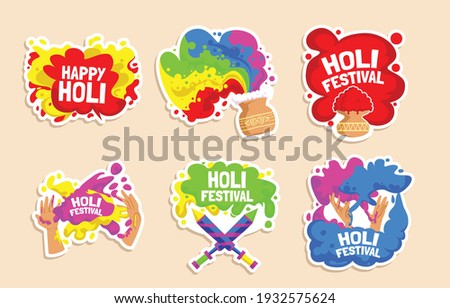 """Holi stickers set for the celebration of the colours. Fun characters celebrate Holi, vector.  Holi is a popular ancient Hindu festival, also known as the """"festival of spring"""", the """"festival of colours"""