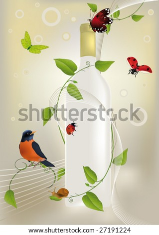 holiday a bottle of wine ladybirds of the butterfly and a bird