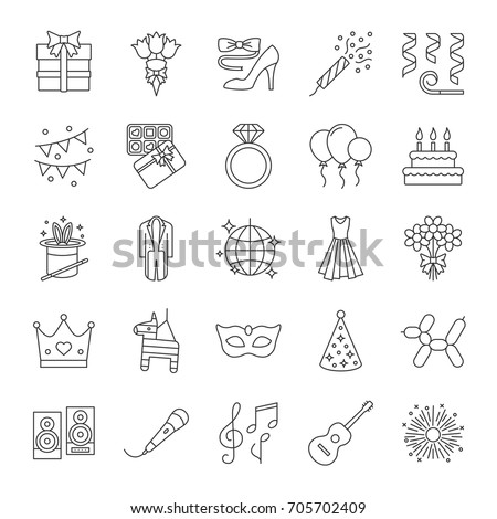 Holiday accessories linear icons set. Birthday party items. Thin line contour symbols. Celebration. Isolated vector outline illustrations. Editable stroke