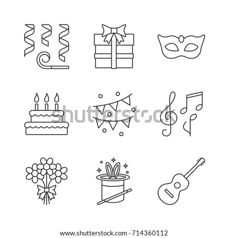 Holiday accessories linear icons set. Thin line contour symbols. Garlands, whistle, carnival mask, gift box, birthday cake, bunch of flowers, magic trick, guitar. Isolated vector outline illustrations