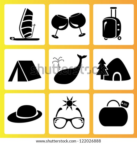 holiday and summer activities icon set, vector set
