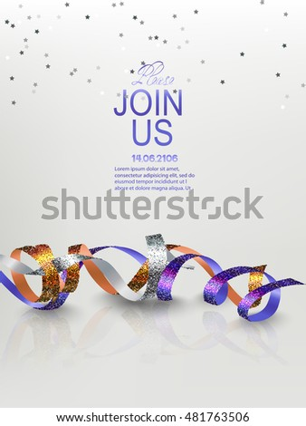 Holiday background. Invitation card with realistic sparkling serpentine and star shaped confetti