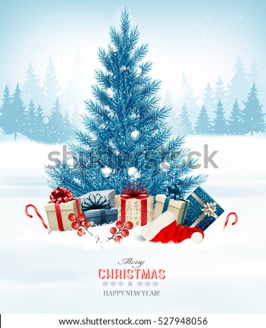 holiday background with a blue