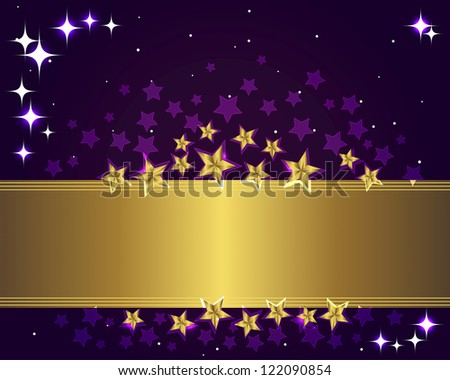 Holiday background with a gold banner and stars. Vector illustration.